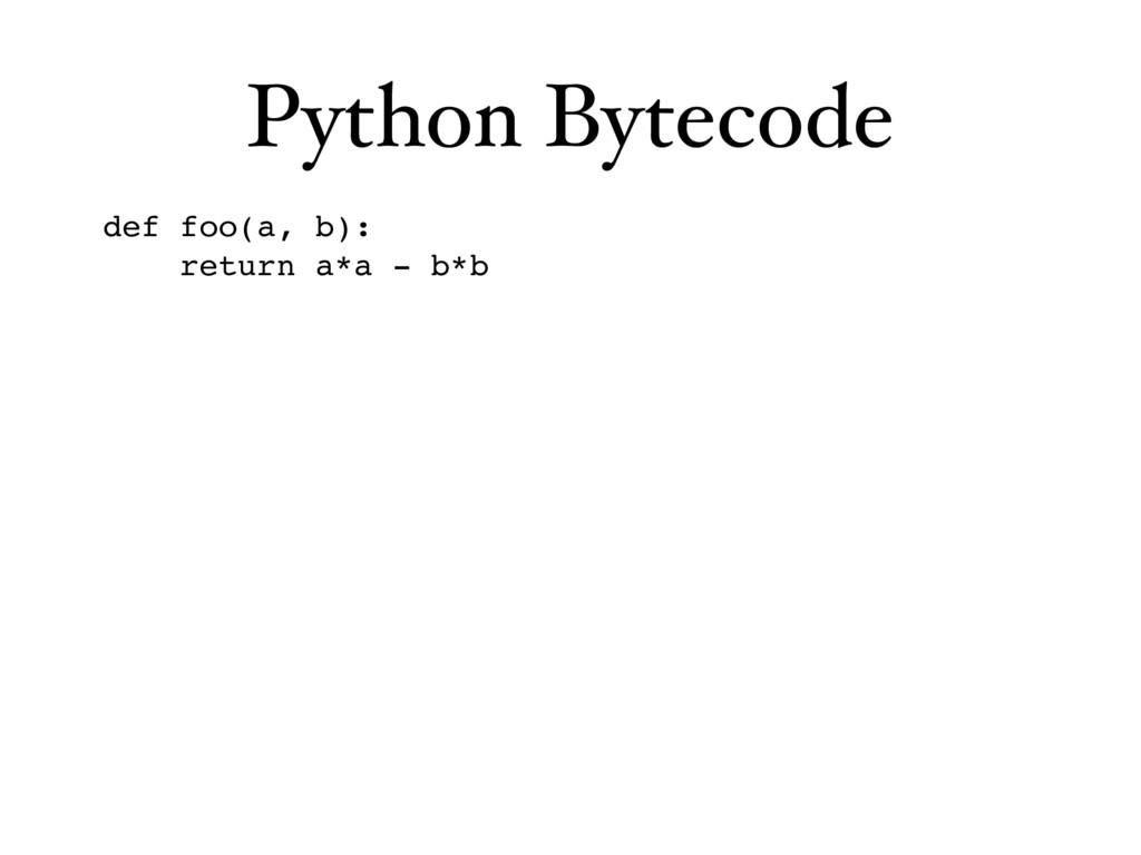 Python Bytecode def foo(a, b): return a*a - b*b