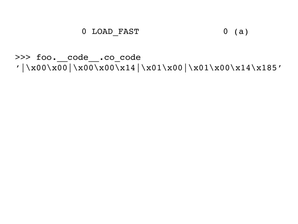 0 LOAD_FAST 0 (a) >>> foo.__code__.co_code '|\x...