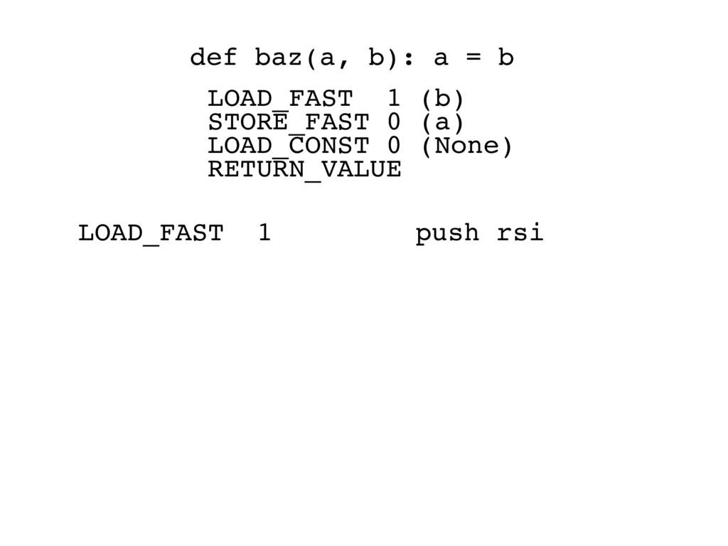LOAD_FAST 1 push rsi def baz(a, b): a = b LOAD_...