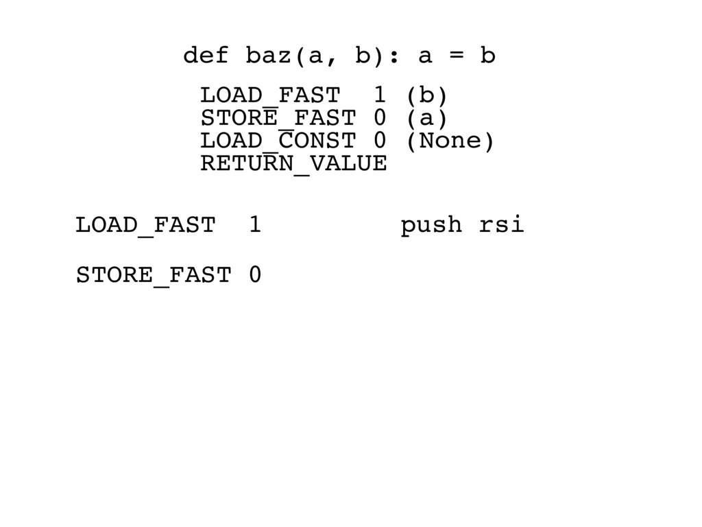 LOAD_FAST 1 push rsi STORE_FAST 0 def baz(a, b)...