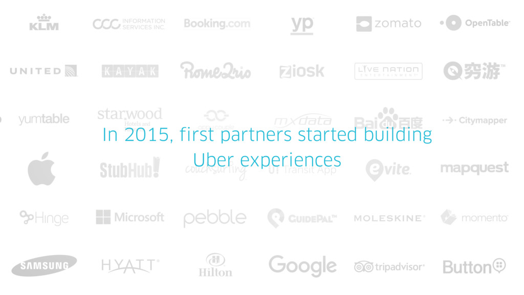 In 2015, first partners started building Uber e...
