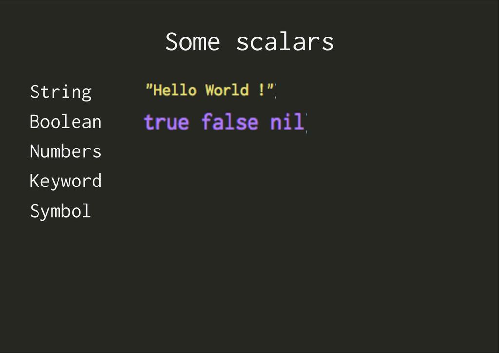Some scalars String Boolean Numbers Keyword Sym...