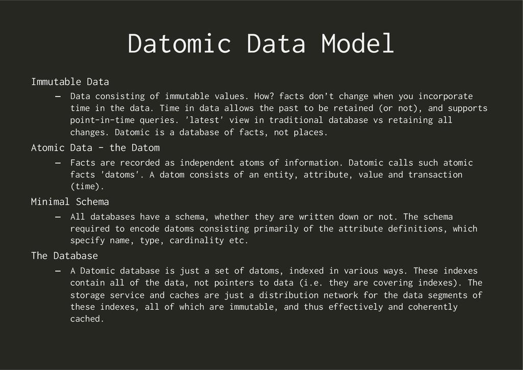 Datomic Data Model Immutable Data – Data consi...