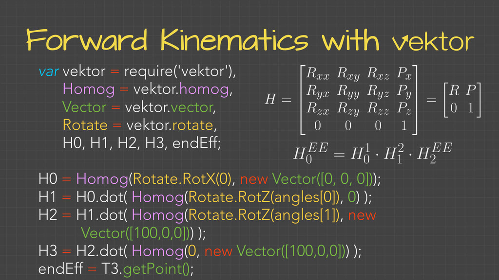 Forward Kinematics with vektor var vektor = req...