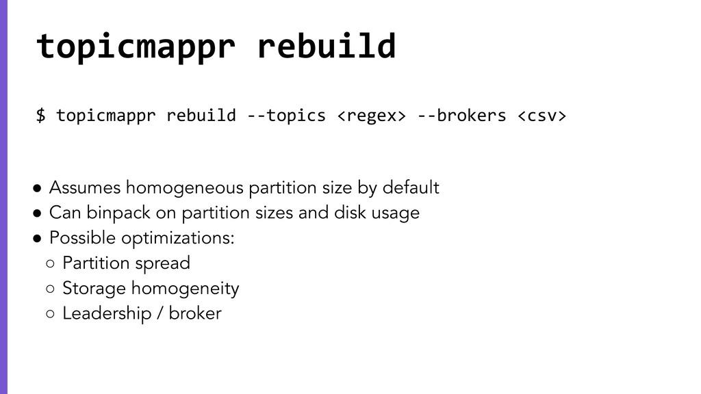 $ topicmappr rebuild --topics <regex> --brokers...