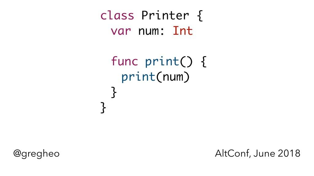@gregheo AltConf, June 2018 class Printer { var...