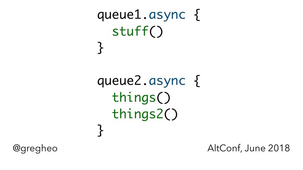 @gregheo AltConf, June 2018 queue1.async {  }...