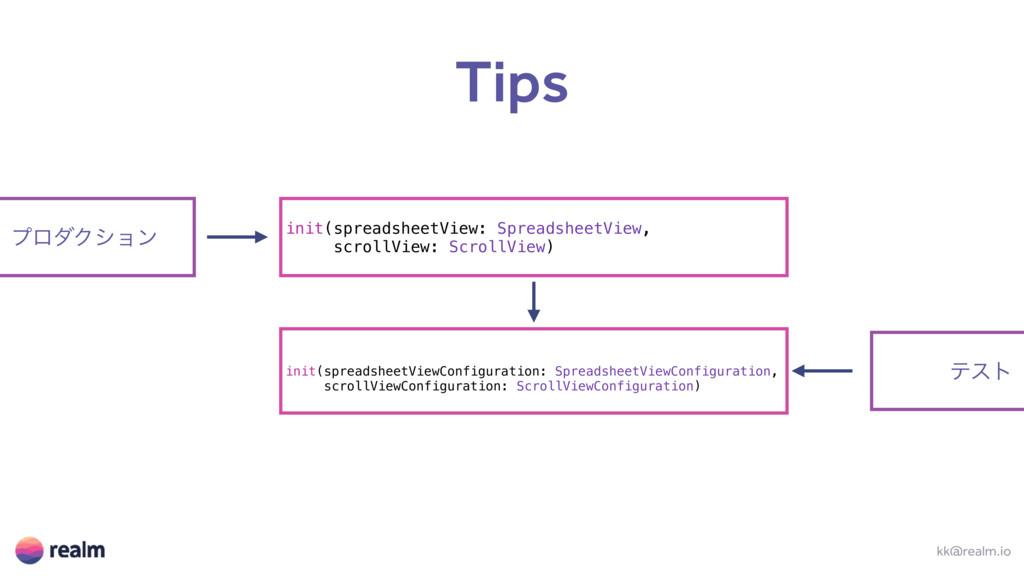 Tips kk@realm.io init(spreadsheetView: Spreadsh...
