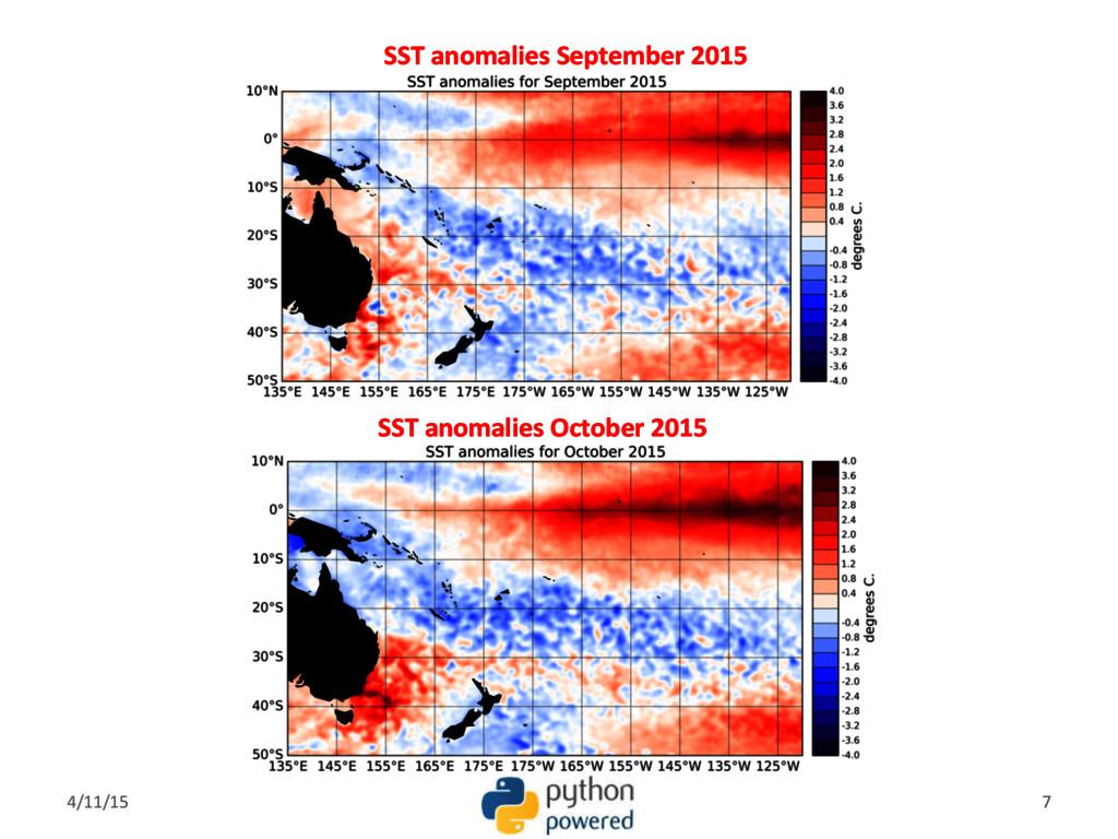 SST anomalies September 2015 SST anomalies Octo...