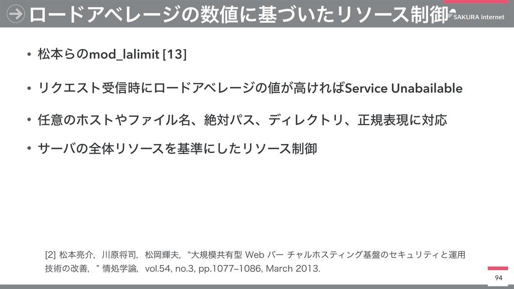 • দຊΒͷmod_lalimit [13] • ϦΫΤετड৴ʹϩʔυΞϕϨʔδͷ͕ߴ͚...