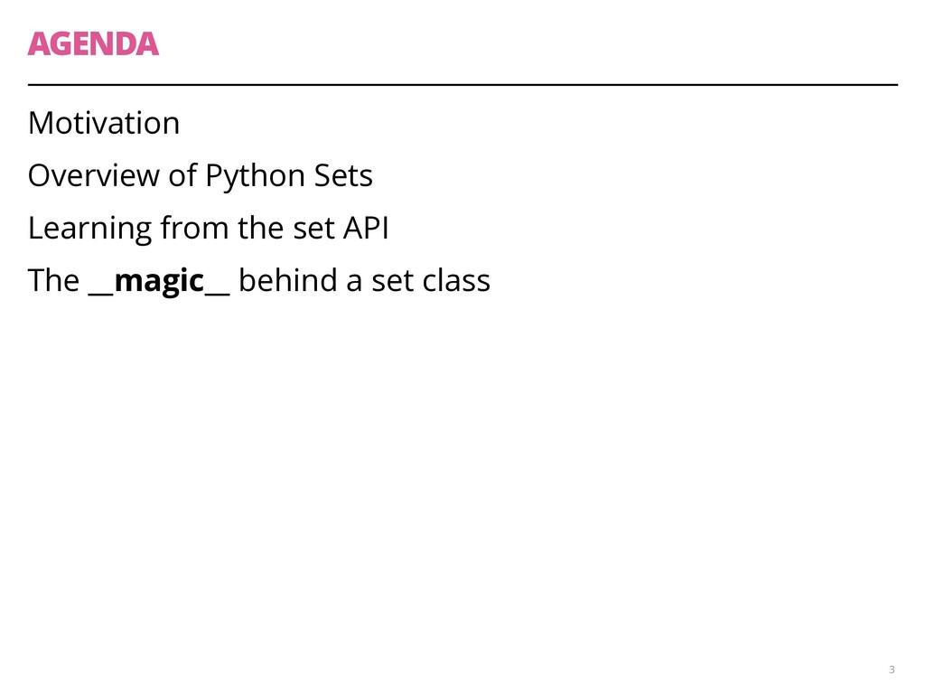 AGENDA Motivation Overview of Python Sets Learn...