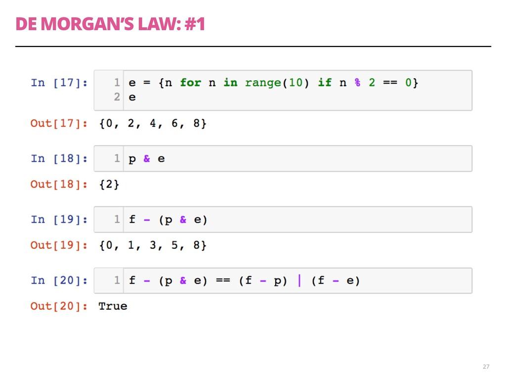 DE MORGAN'S LAW: #1 27