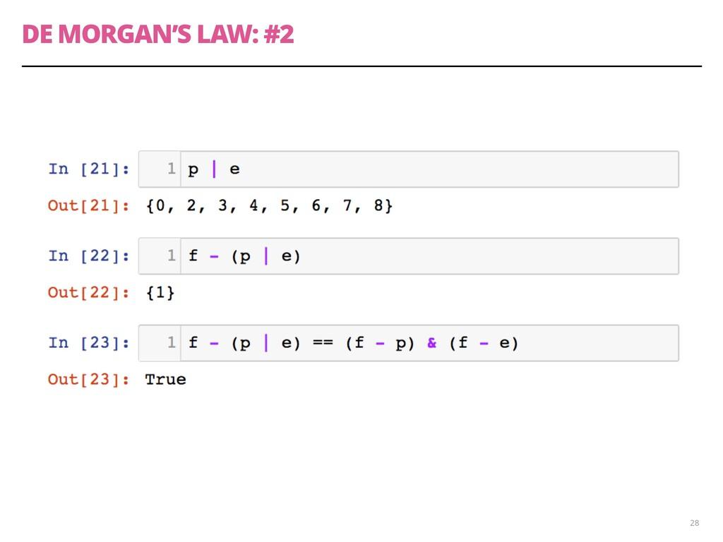 DE MORGAN'S LAW: #2 28