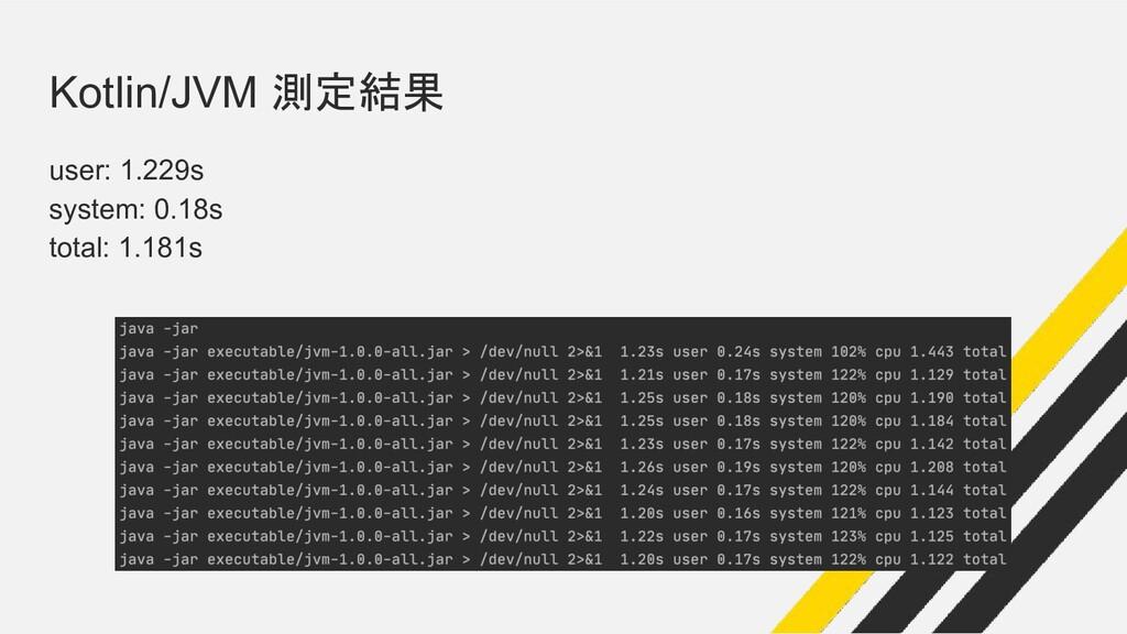 Kotlin/JVM 測定結果 user: 1.229s system: 0.18s tota...