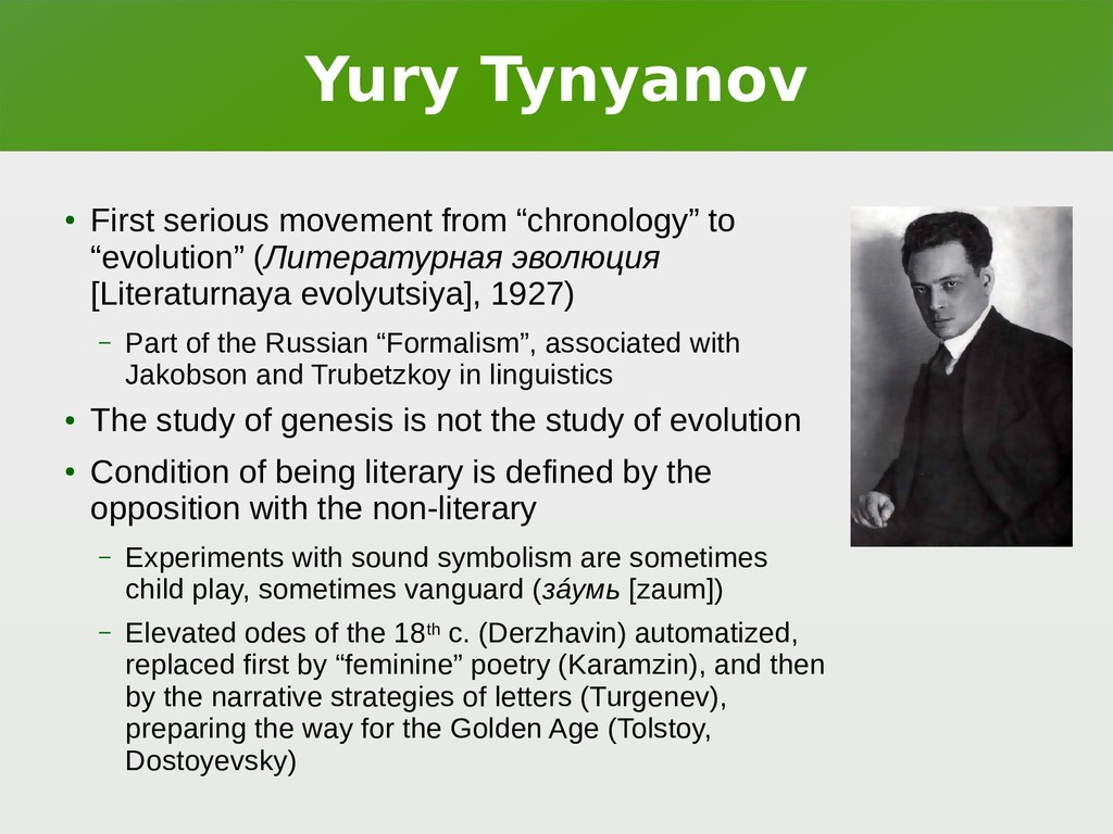 "Yury Tynyanov ● First serious movement from ""ch..."