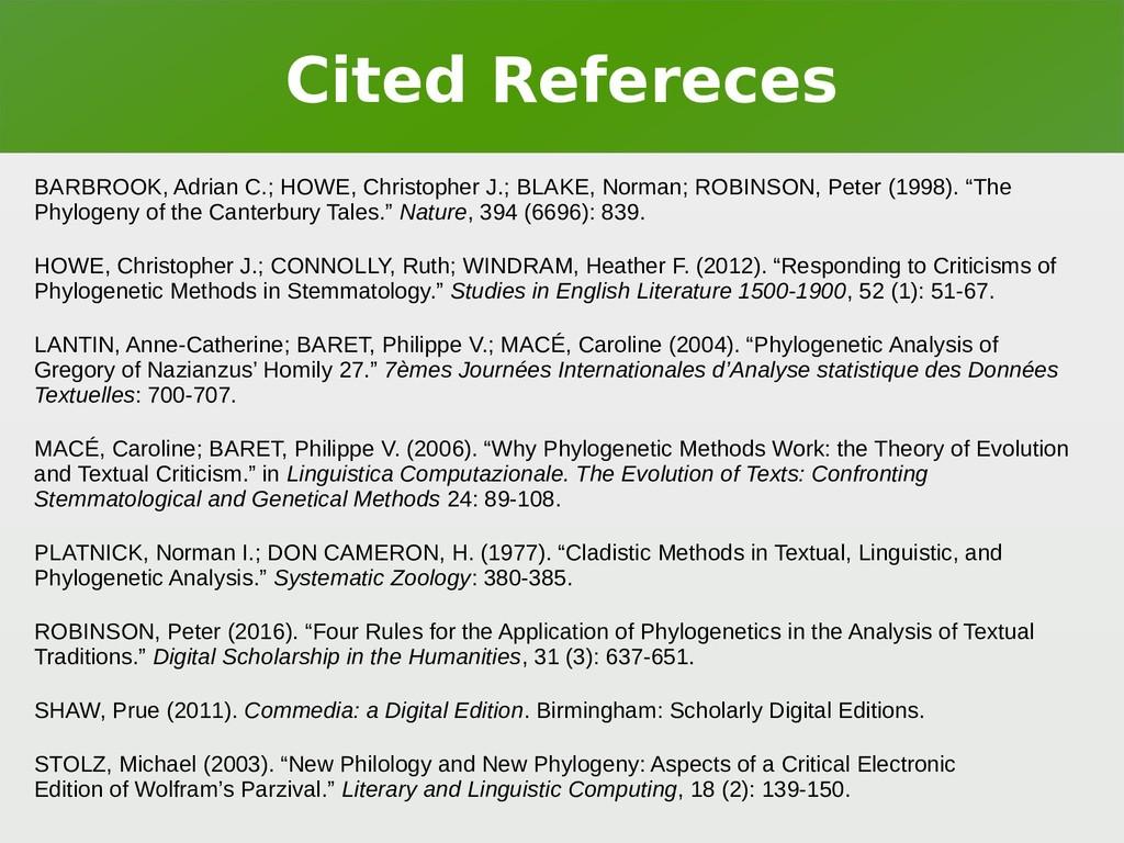 Cited Refereces BARBROOK, Adrian C.; HOWE, Chri...