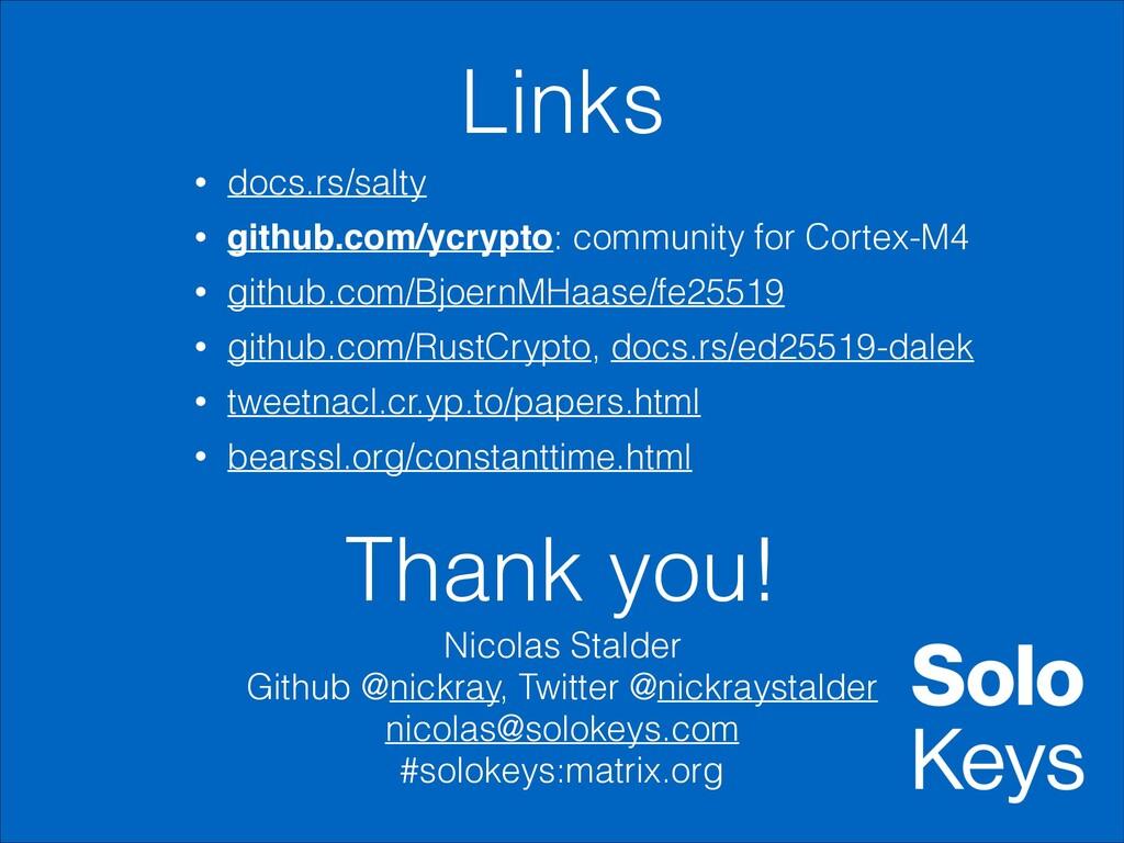 Links • docs.rs/salty • github.com/ycrypto: com...