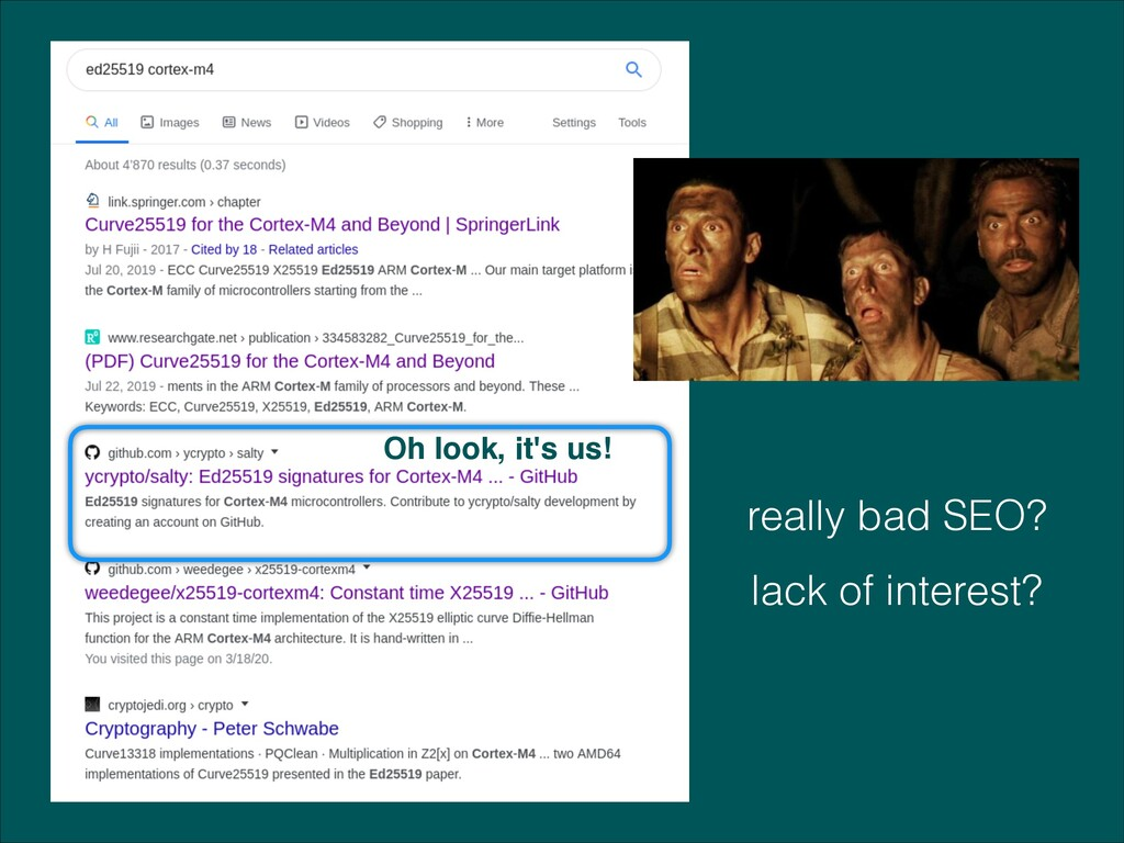 Oh look, it's us! really bad SEO? lack of inter...