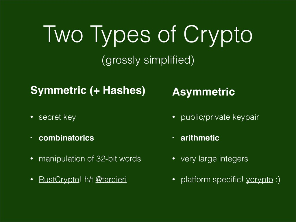 Two Types of Crypto (grossly simplified) Symmetr...