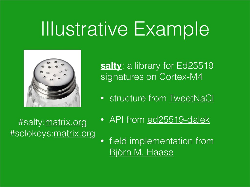 Illustrative Example salty: a library for Ed255...