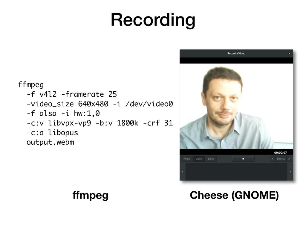 Recording ffmpeg -f v4l2 -framerate 25 -video_s...