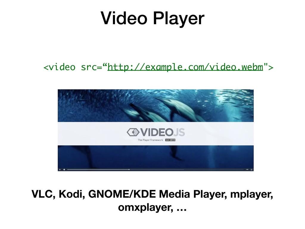 Video Player VLC, Kodi, GNOME/KDE Media Player,...