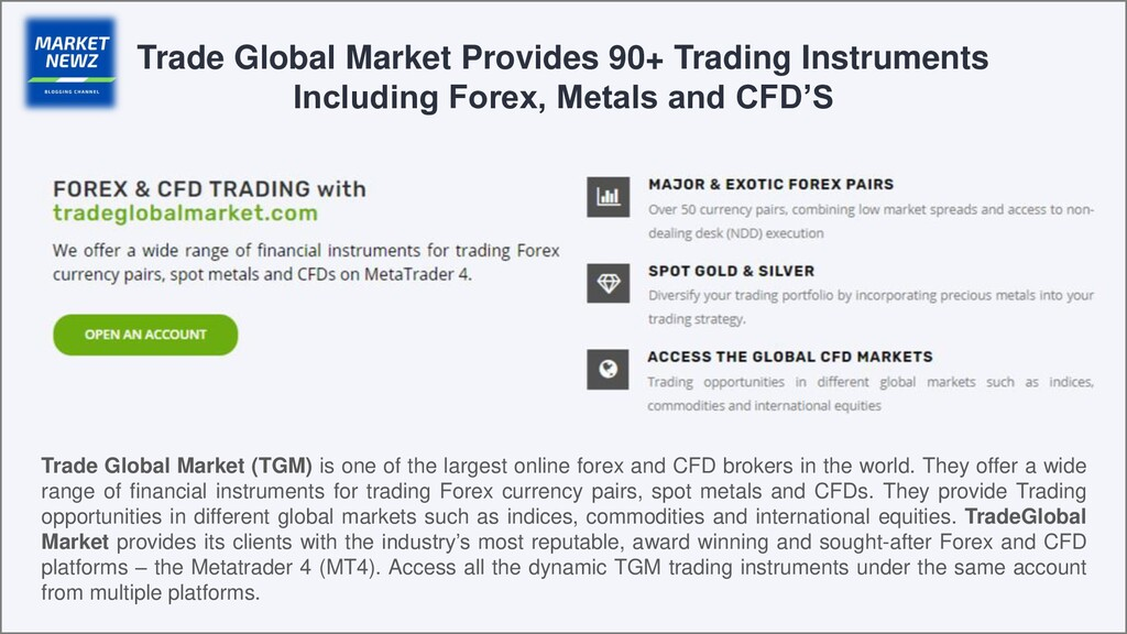 Trade Global Market Provides 90+ Trading Instru...