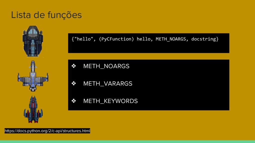 Lista de funções ❖ METH_NOARGS ❖ METH_VARARGS ❖...