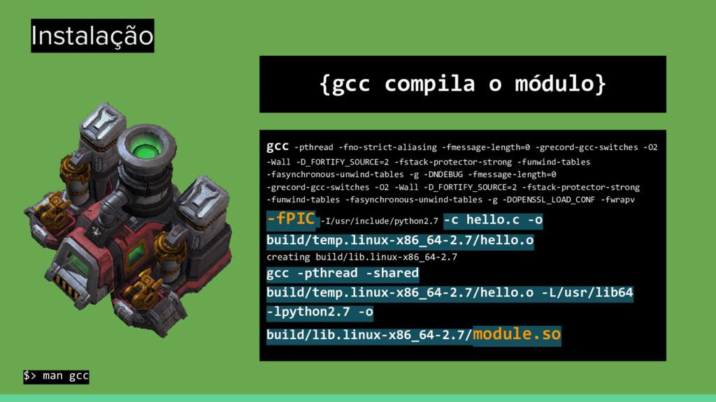 Instalação {gcc compila o módulo} gcc -pthread ...