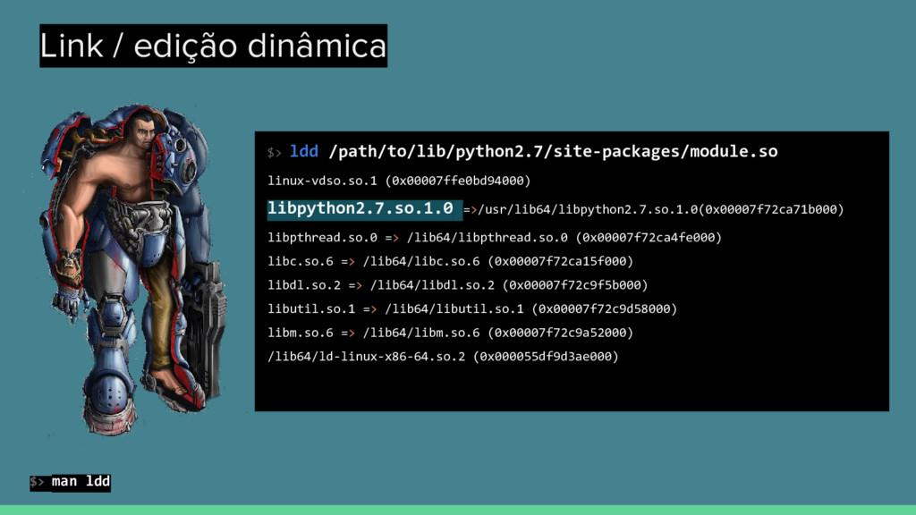 Link / edição dinâmica $> ldd /path/to/lib/pyth...