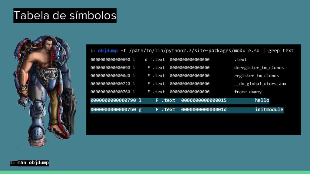 Tabela de símbolos $> objdump -t /path/to/lib/p...