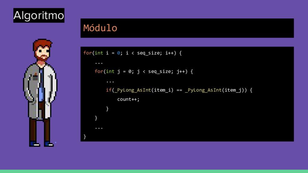 Algoritmo for(int i = 0; i < seq_size; i++) { ....