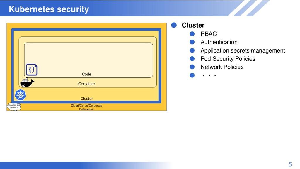 マスター タイトルの書式設定 Kubernetes security 5 ● Cluster ...