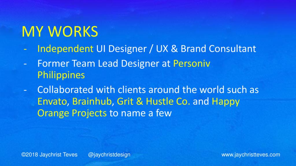 MY WORKS - Independent UI Designer / UX & Brand...