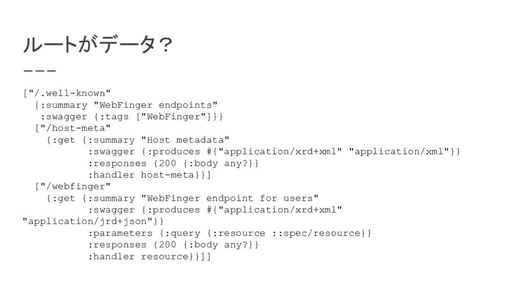 """ルートがデータ? [""""/.well-known"""" {:summary """"WebFinger e..."""