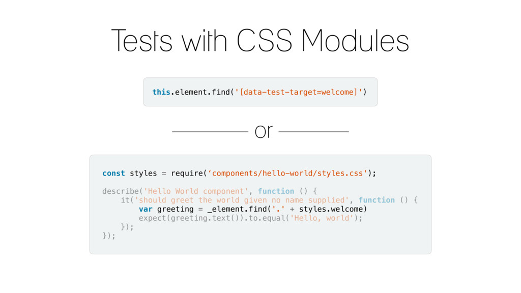 Tests with CSS Modules this.element.find('[data...