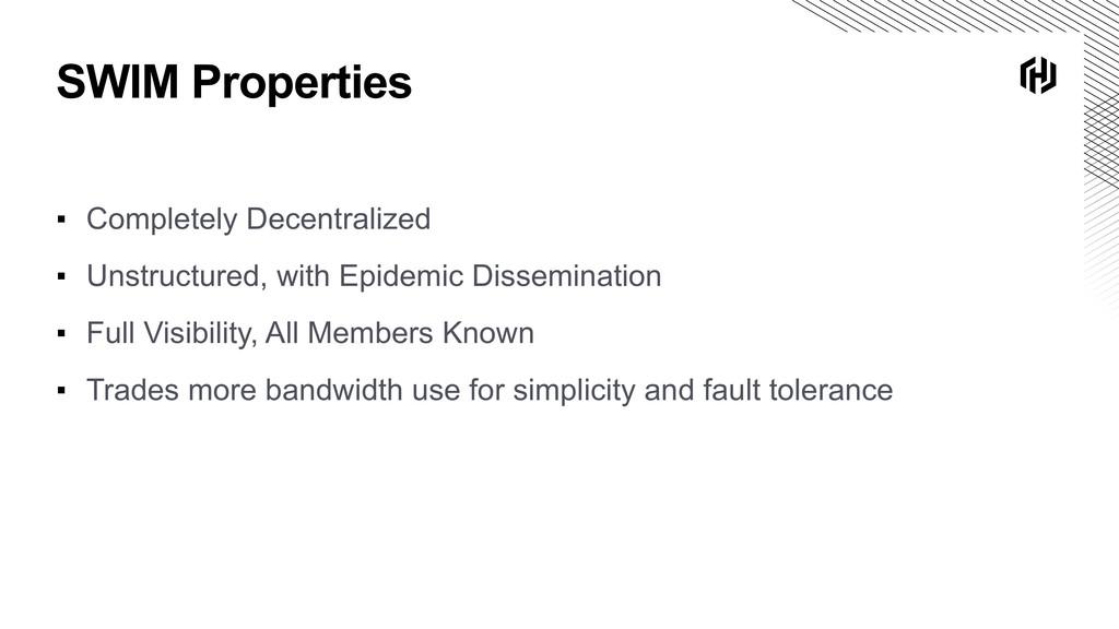 SWIM Properties ▪ Completely Decentralized ▪ Un...