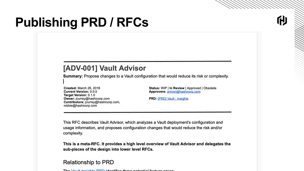 Publishing PRD / RFCs