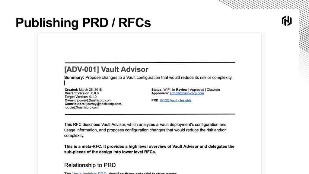 Publishing PRD / RFCs