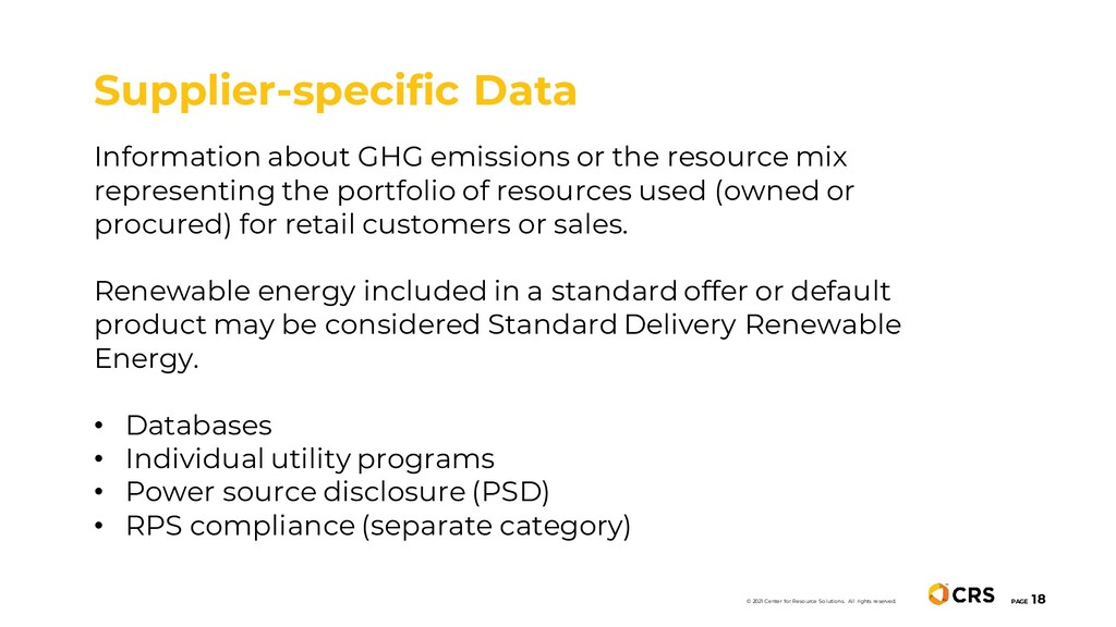 Information about GHG emissions or the resource...