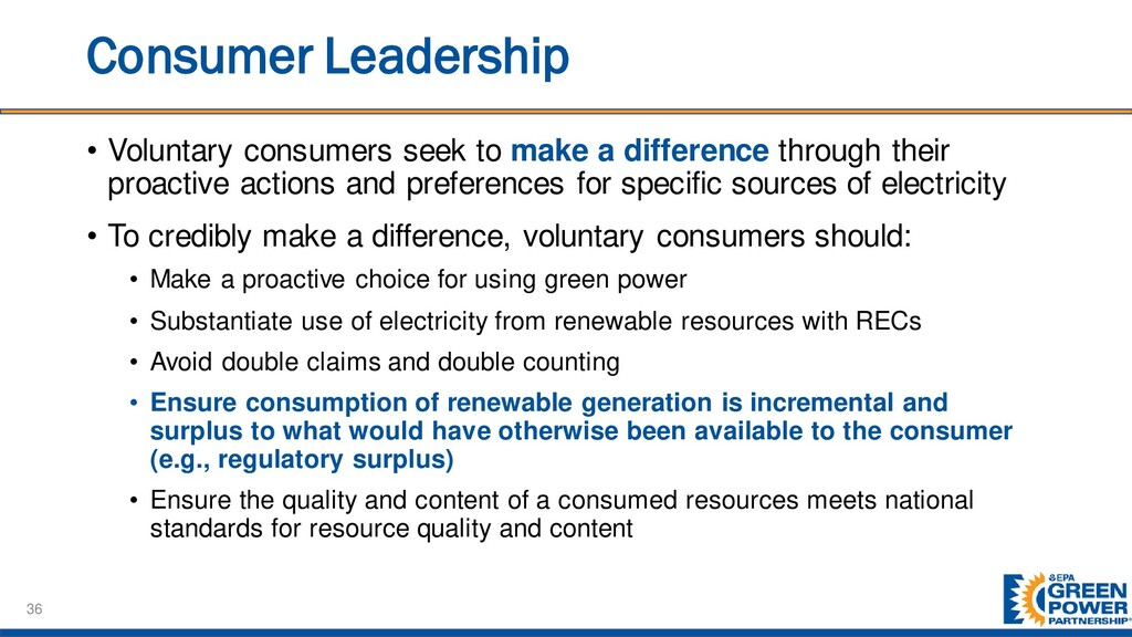 Consumer Leadership • Voluntary consumers seek ...