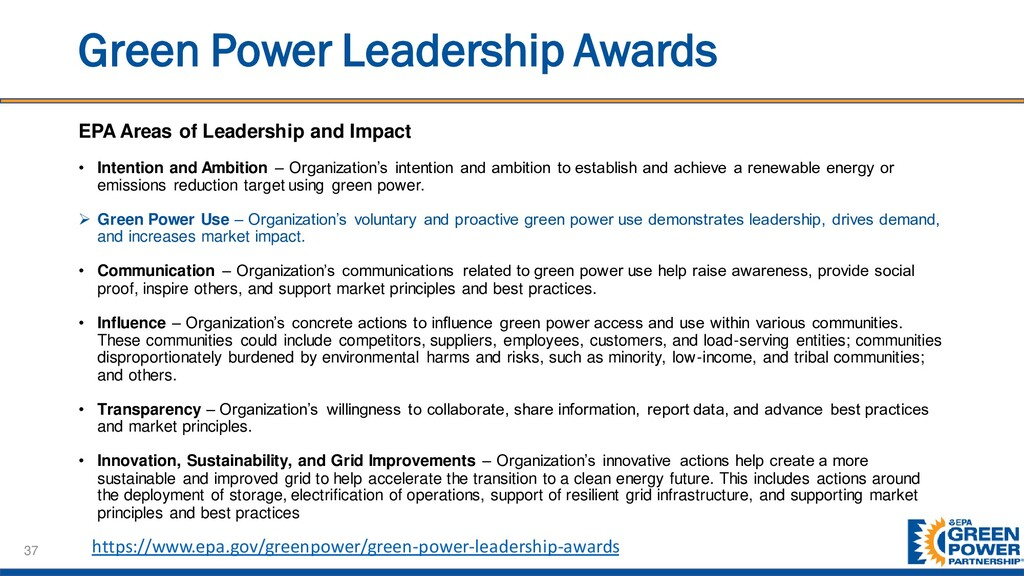 Green Power Leadership Awards EPA Areas of Lead...