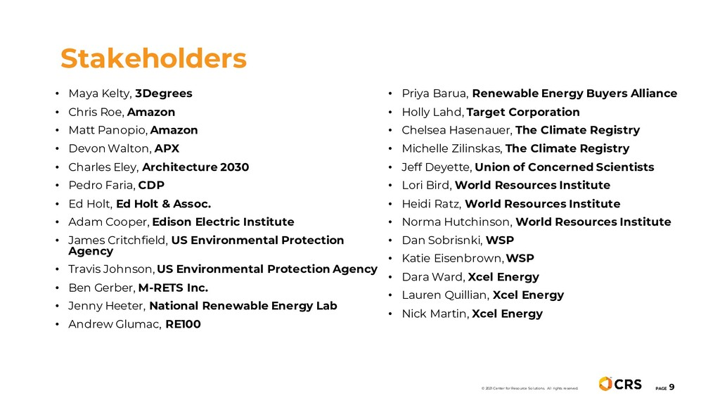 Stakeholders PAGE 9 • Maya Kelty, 3Degrees • Ch...