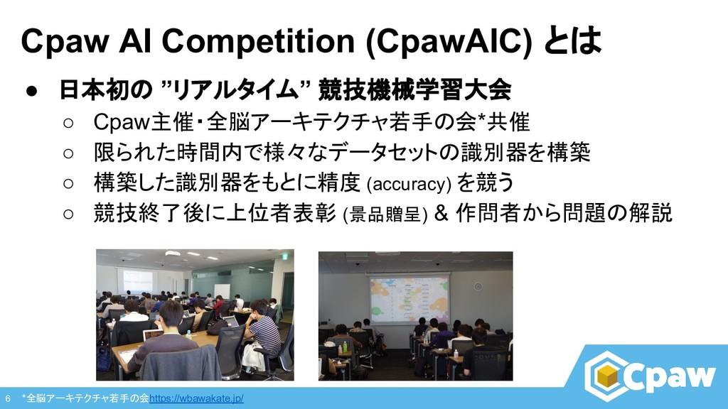 "Cpaw AI Competition (CpawAIC) とは ● 日本初の ""リアルタイム..."