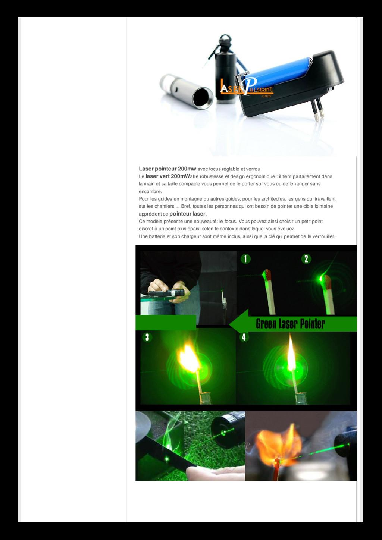 Laser pointeur 200mw avec focus réglable et ver...