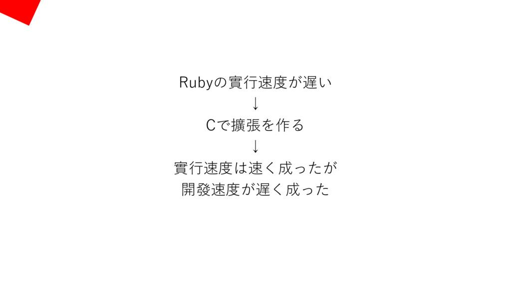 Rubyの實⾏速度が遅い ↓ Cで擴張を作る ↓ 實⾏速度は速く成ったが 開發速度が遅く成った