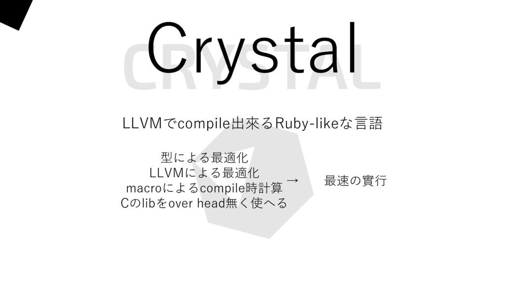 Crystal LLVMでcompile出來るRuby-likeな⾔語 型による最適化 LLV...