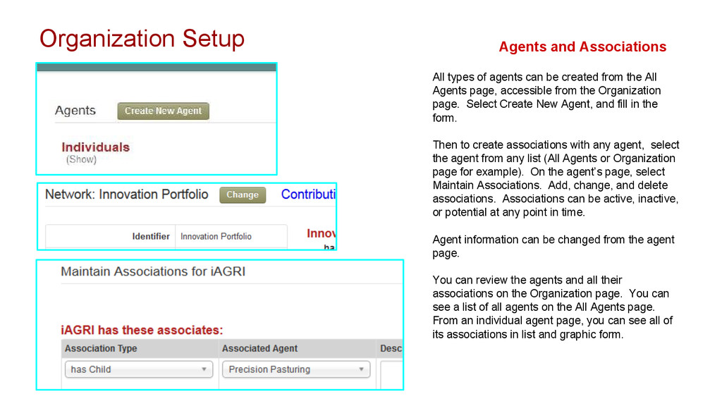 Organization Setup Agents and Associations All ...