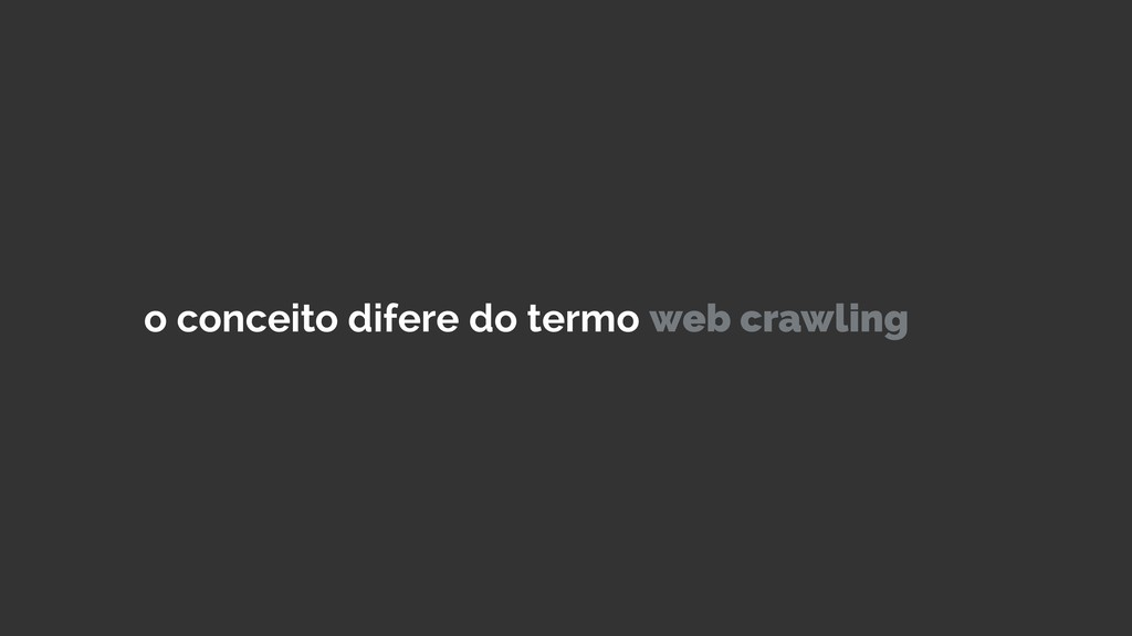 o conceito difere do termo web crawling