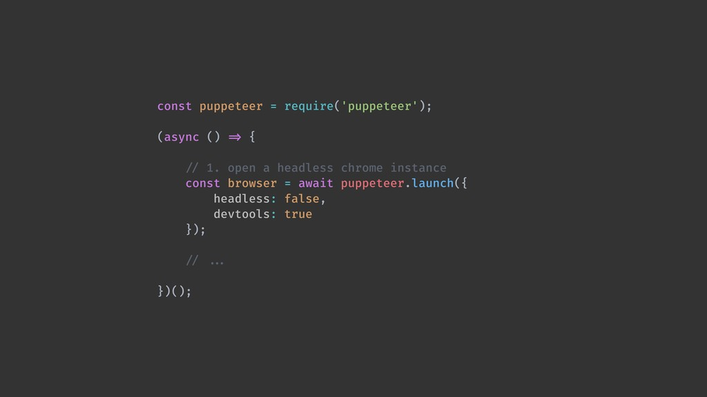 const puppeteer = require('puppeteer'); (async ...